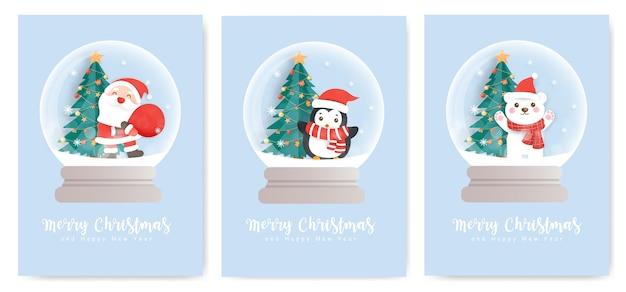 Set kerstkaarten en nieuwjaarswenskaarten met een schattige kerstman, pinguïn en sneeuwpop in een sneeuwbol.