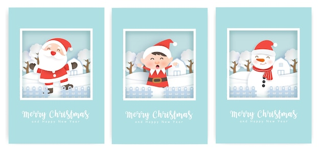 Set kerstkaarten en wenskaarten met een schattige kerstman en vrienden.