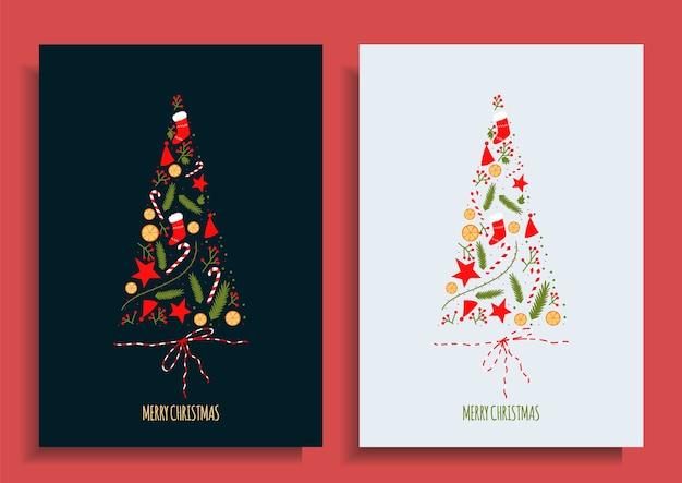 Set kerstkaarten. kerstboom gemaakt van objecten. nieuwjaar briefkaart. cartoon afbeelding hand getrokken.