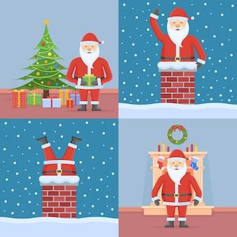 Set kerstkaarten met de kerstman in vlakke stijl Premium Vector