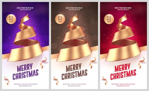 Set kerstkaarten of flyers met gouden kerstboom gemaakt van lint. vector illustratie