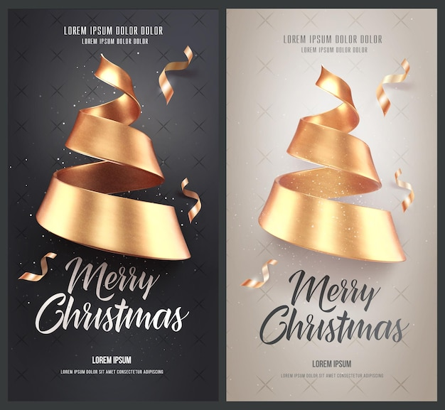 Set kerstkaarten of flyers met gouden kerstboom gemaakt van lint