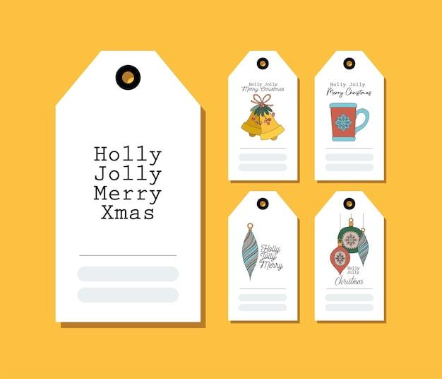 Set kerstkaarten op geel afbeelding ontwerp