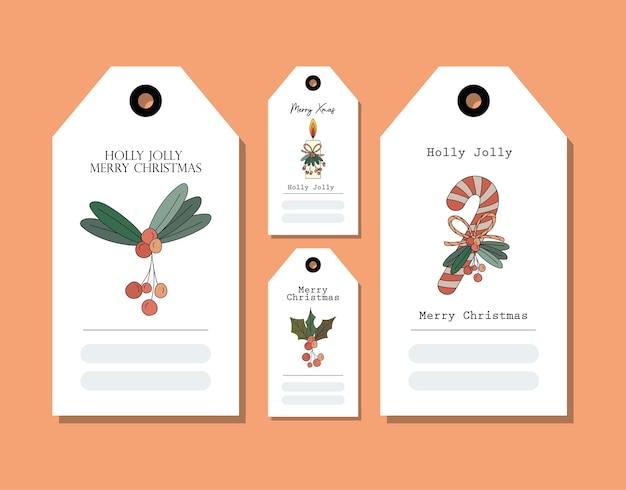 Set kerstkaarten op oranje afbeelding ontwerp