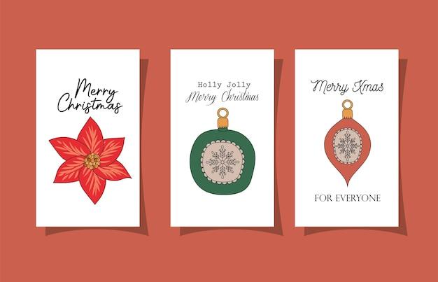 Set kerstkaarten op rood afbeelding ontwerp