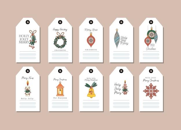 Set kerstkaarten op roze afbeelding ontwerp
