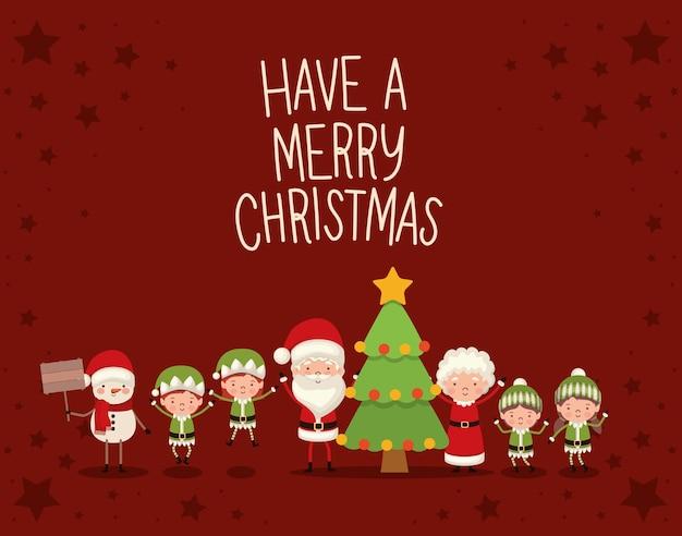 Set kerstkarakters en een vrolijk kerstfeest belettering op rode achtergrond vector