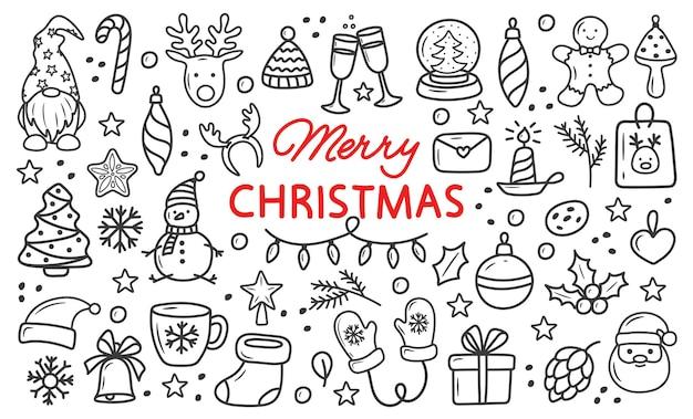 Set kerstkrabbelelementen met de hand eenvoudige afbeeldingen tekenen