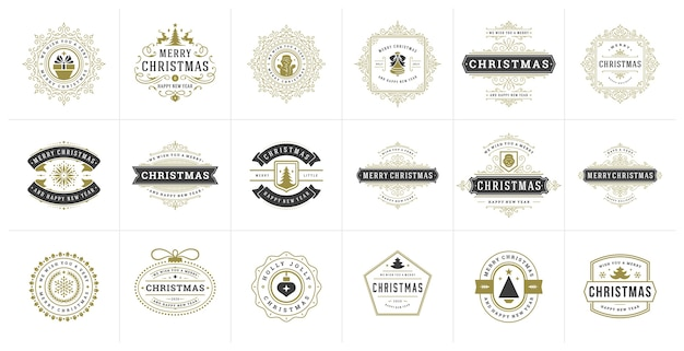 Set kerstlogo's, embleem, badge. vintage ornamenten decoratie.