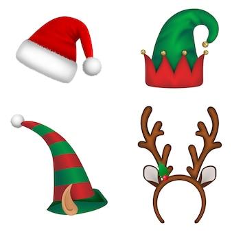 Set kerstmutsen. kerstman hoed, elf hoeden en rendier hoorns hoofdband