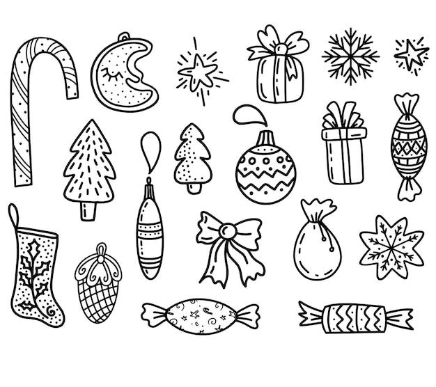 Set kerstontwerpelement in doodles-stijl