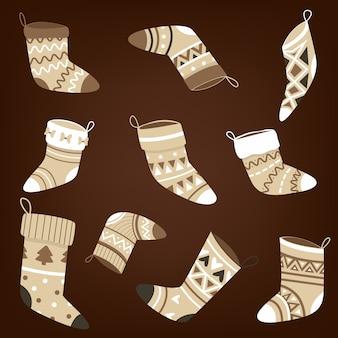 Set kerstsokken met patroon
