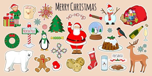 Set kerststickers vakantiedecoratie-elementen vectorillustraties
