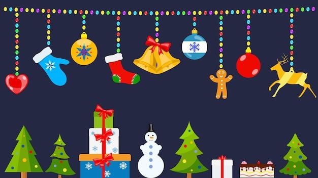 Set kerstsymbolen en warme winterkleren in vlakke stijl die aan touwen van gekleurde ballen hangen en op de grond staan