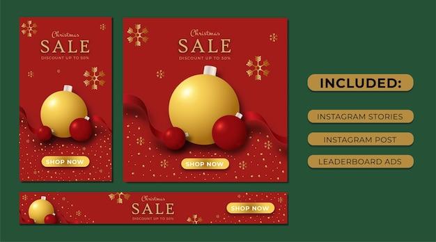 Set kerstuitverkoop instagramverhalen social media post en leaderboard-advertenties