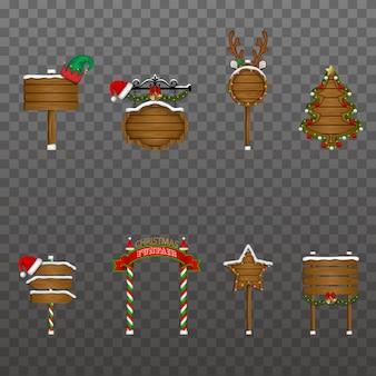 Set kerstverkeersborden en houten uithangborden met versieringen en verlichting