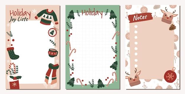 Set kerstversiering briefpapier voor notities taken om lijst organisator en planner te doen