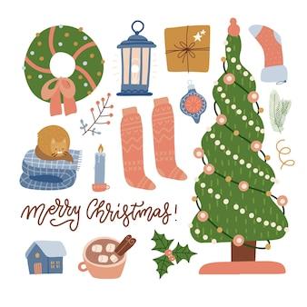 Set kerstviering elementen boom geschenken speelgoed lantaarn kleding en decoraties winter collectie...