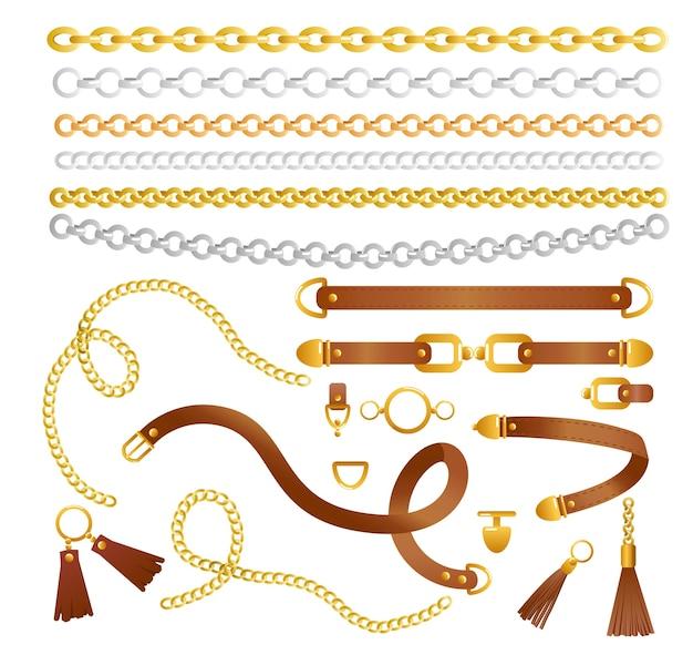 Set kettingen en riemen fashion collectie elementen voor stof