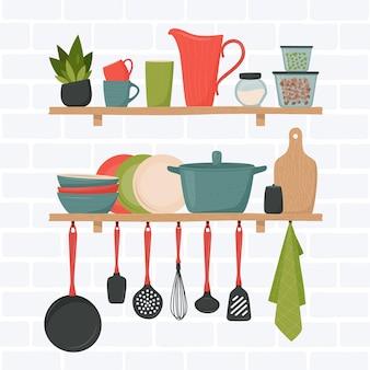 Set keukenaccessoires in retro stijl op planken
