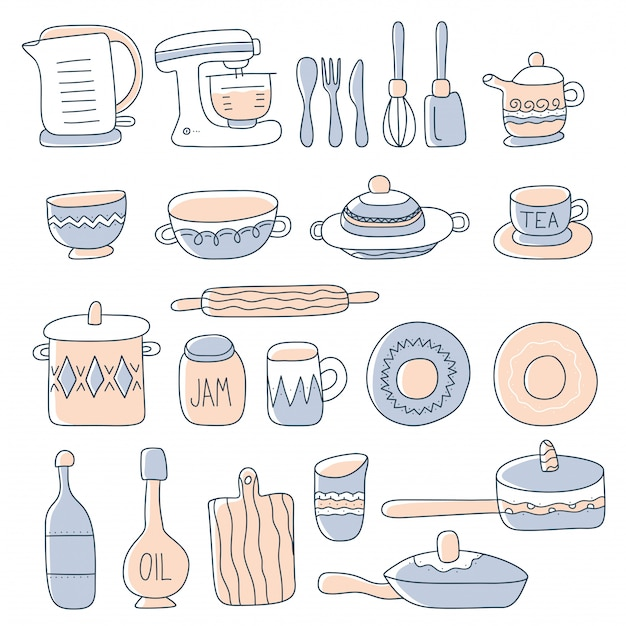 Set keukengerei voor thuis koken en hulpmiddelen in doodle stijl.
