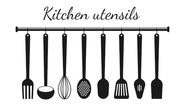 Set keukengerei zwart silhouet. vectorillustratie geïsoleerd op een witte achtergrond.