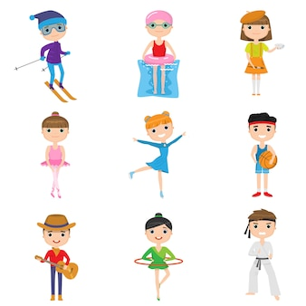 Set kindactiviteiten en hobby's tegen witte achtergrond