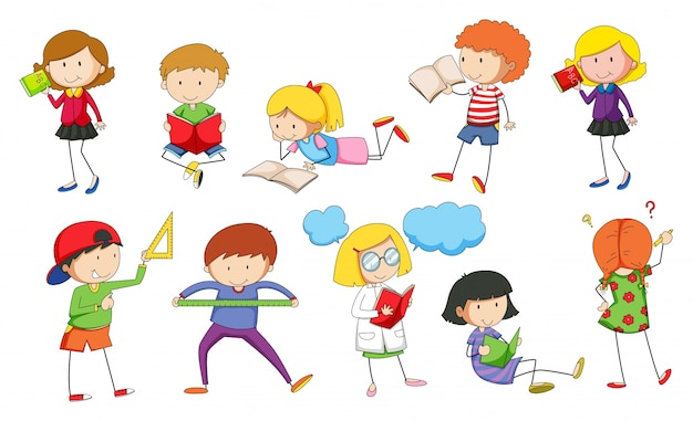 Set kinderen die illustratie bestuderen