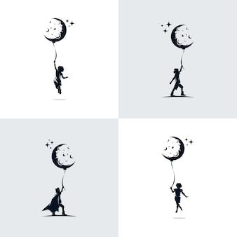 Set kinderen droom ontwerp illustratie sjabloon