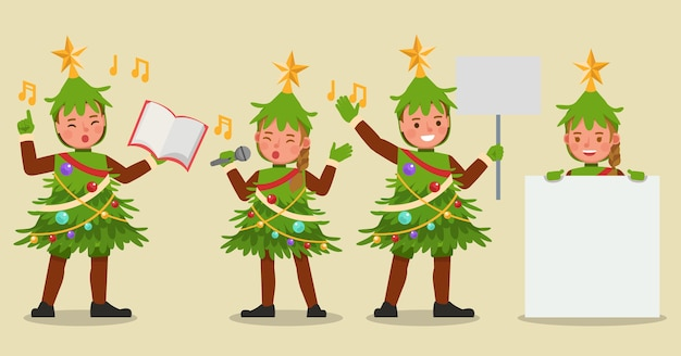Set kinderen jongen en meisje dragen kerstboom kostuums karakter