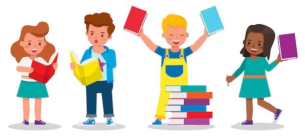 Set kinderen tekens. kinderen studeren en leren samen. jongens en meisjes het lezen van boeken.