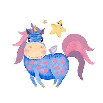 Set kinderillustraties met een eenhoorn en sterren op een witte achtergrond