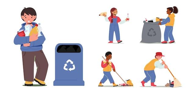 Set kinderpersonages verzamelt afval