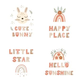 Set kinderposterprints met belettering van citaten en konijntjes. vector illustratie.