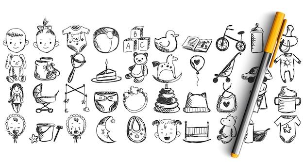 Set kindertijd doodle geïsoleerd op wit