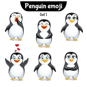 Set kit collectie sticker emoji emoticon emotie geïsoleerde illustratie gelukkig karakter lieve, schattige pinguïn