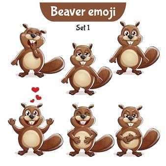 Set kit collectie sticker emoji emoticon emotie vector geïsoleerde illustratie gelukkig karakter lief, schattig bever