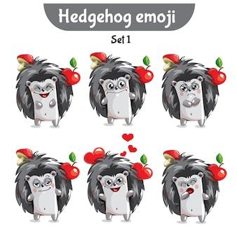 Set kit collectie sticker emoji emoticon emotie vector geïsoleerde illustratie gelukkig karakter lief, schattig egel