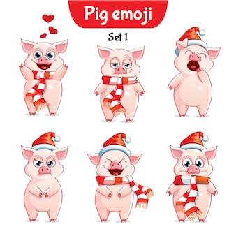 Set kit collectie sticker emoji emoticon emotie vector geïsoleerde illustratie gelukkig karakter lief, schattig kerst varken