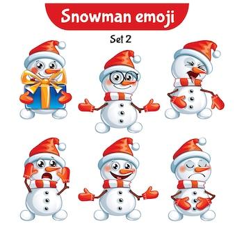 Set kit collectie sticker emoji emoticon emotie vector geïsoleerde illustratie gelukkig karakter lief, schattig sneeuwpop