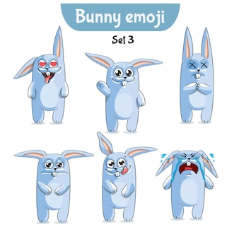 Set kit collectie sticker emoji emoticon emotie vector geïsoleerde illustratie gelukkig karakter lief, schattig wit konijn, konijn, haas.