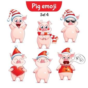 Set kit collectie sticker emoji emoticon emotie vector geïsoleerde illustratie gelukkig karakter zoet, kerst varken