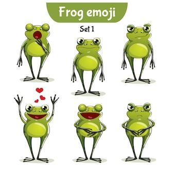 Set kit collectie sticker emoji emoticon emotie vector geïsoleerde illustratie gelukkig karakter zoete, schattige kikker