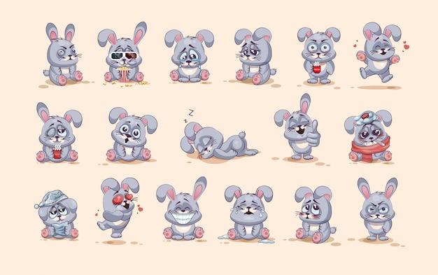 Set kit collectie stock illustraties geïsoleerd emoji karakter cartoon grijze haas stickers emoticons met verschillende emoties