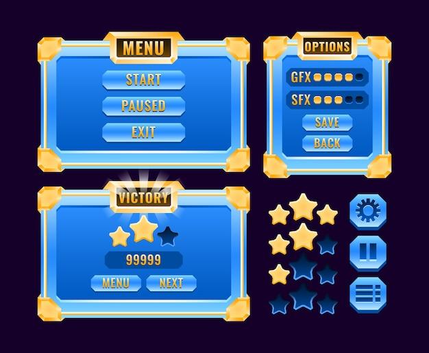 Set kit met fantasie gouden glanzende diamanten game ui board pop-up interface voor gui asset-elementen