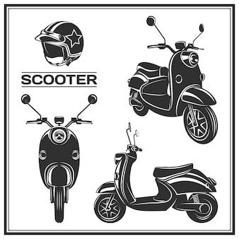 Set klassieke scooter emblemen pictogrammen en badges urban street scooter illustraties en afbeeldingen