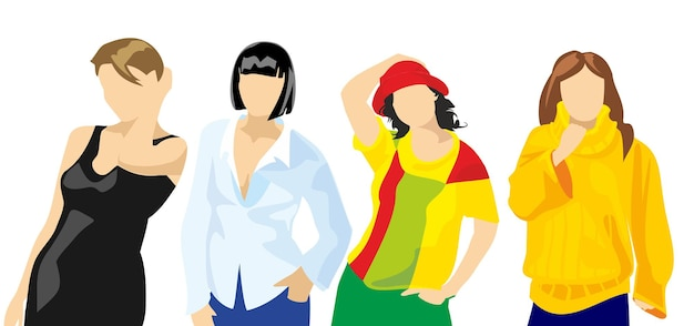 Set kleding voor vrouwen. platte vectorillustratie. voor label waspoeder gekleurde stoffen.