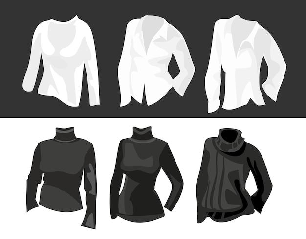 Set kleding voor vrouwen. platte vectorillustratie. voor label waspoeder witte en zwarte stoffen.