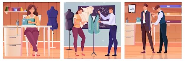 Set kleermaker die metingen van de klant in vlakke stijl neemt