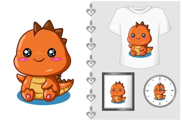 Set, kleine en schattige oranje dinosaurus